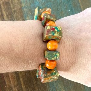 Hand Crafted cement & bead stretch bracelet
